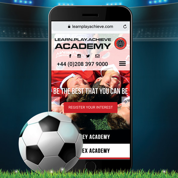 soccer academy website design
